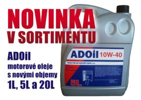 Novinka v sortimentu – ADOil oleje s novými objemy 1L, 5L a 20L